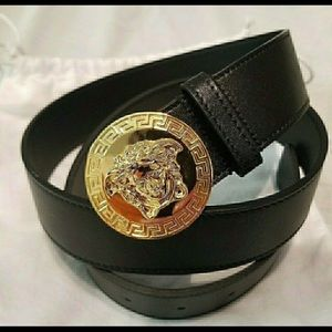Versace black leather round medusa buckle belt